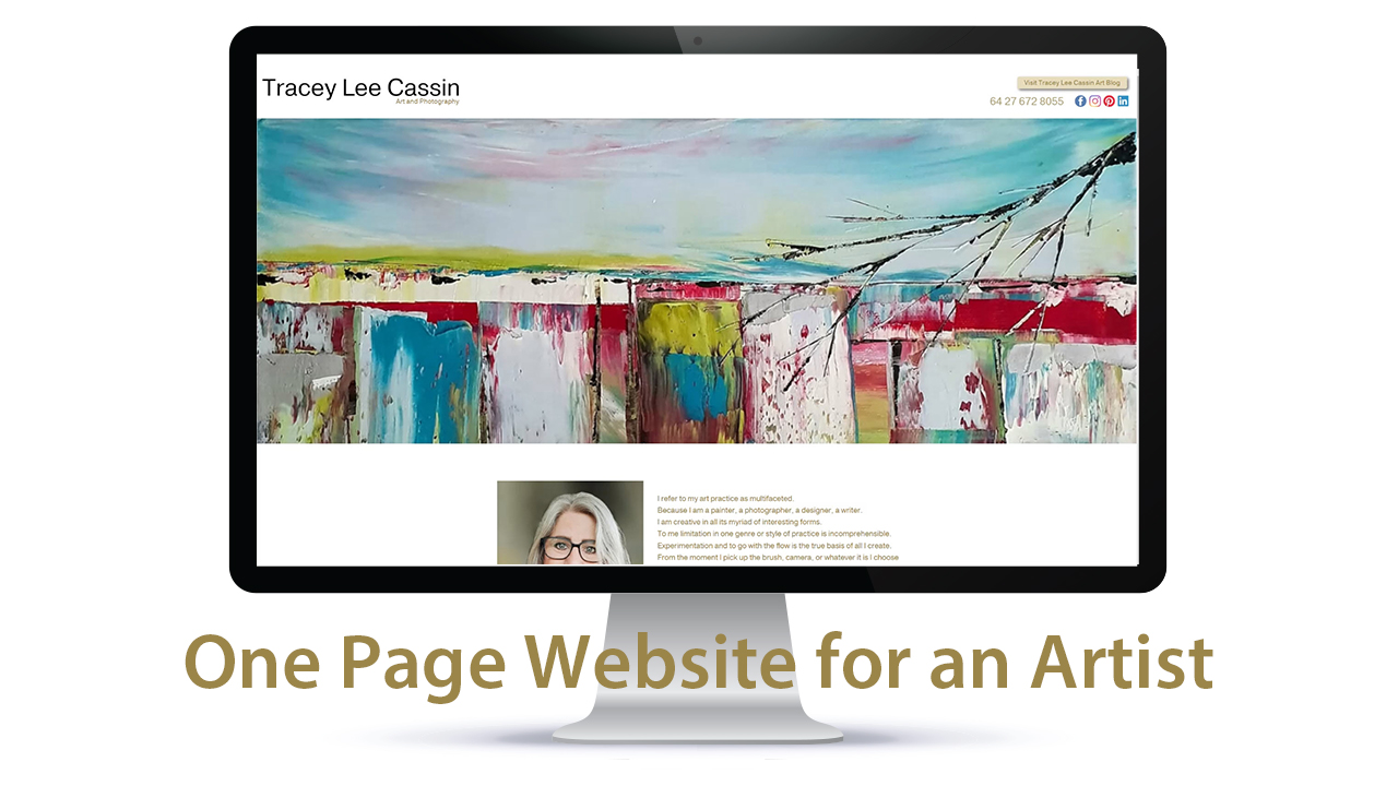 One page website for an Artist